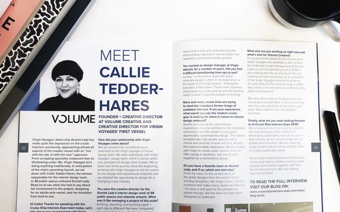 CSIE 2019 SHOW PREVIEW MEET CALLIE TEDDER-HARESJune 2019PROJECT: Virgin Voyages